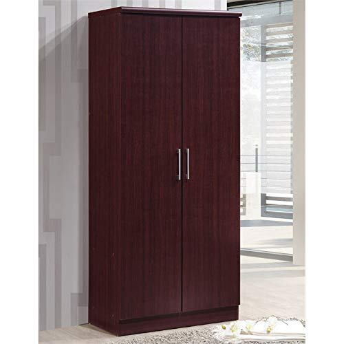 Pemberly Row 2 Door Armoire with 4 Shelves in Mahogany
