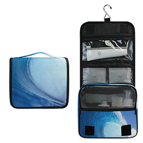 Summer Surf Large Capacity Hanging Toiletry Bag for Men & Women, Portable Waterproof Bathroom Shower Bag, Lightweight Dopp kit Shaving Bag, Sturdy Metal Hook Organizer Makeup Bag