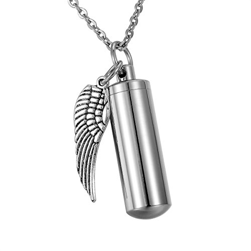 HooAMI Angel Wing Charm & Cylinder Memorial Urn Necklace Stainless Steel Cremation Jewelry