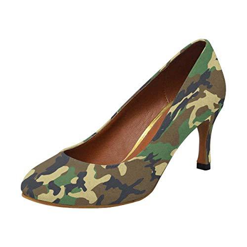 INTERESTPRINT Womens High Heels Comfort Pumps Camouflage 6 B(M) ()