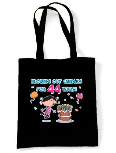 Shoulder 44 44th Birthday Tote Blowing for Candles Out Black Years Bag xwf7aq