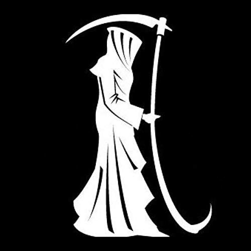 Legacy Innovations Grim Reaper White Decal Vinyl Sticker|Cars Trucks Vans Walls Laptop| White |5.5 x 3.5 in|LLI598