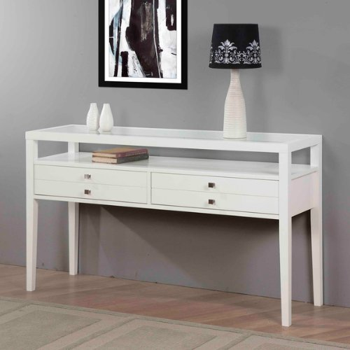 Accent Table Sofa Table with Storage Gloss White Sofa Side Table Modern Sofa Table