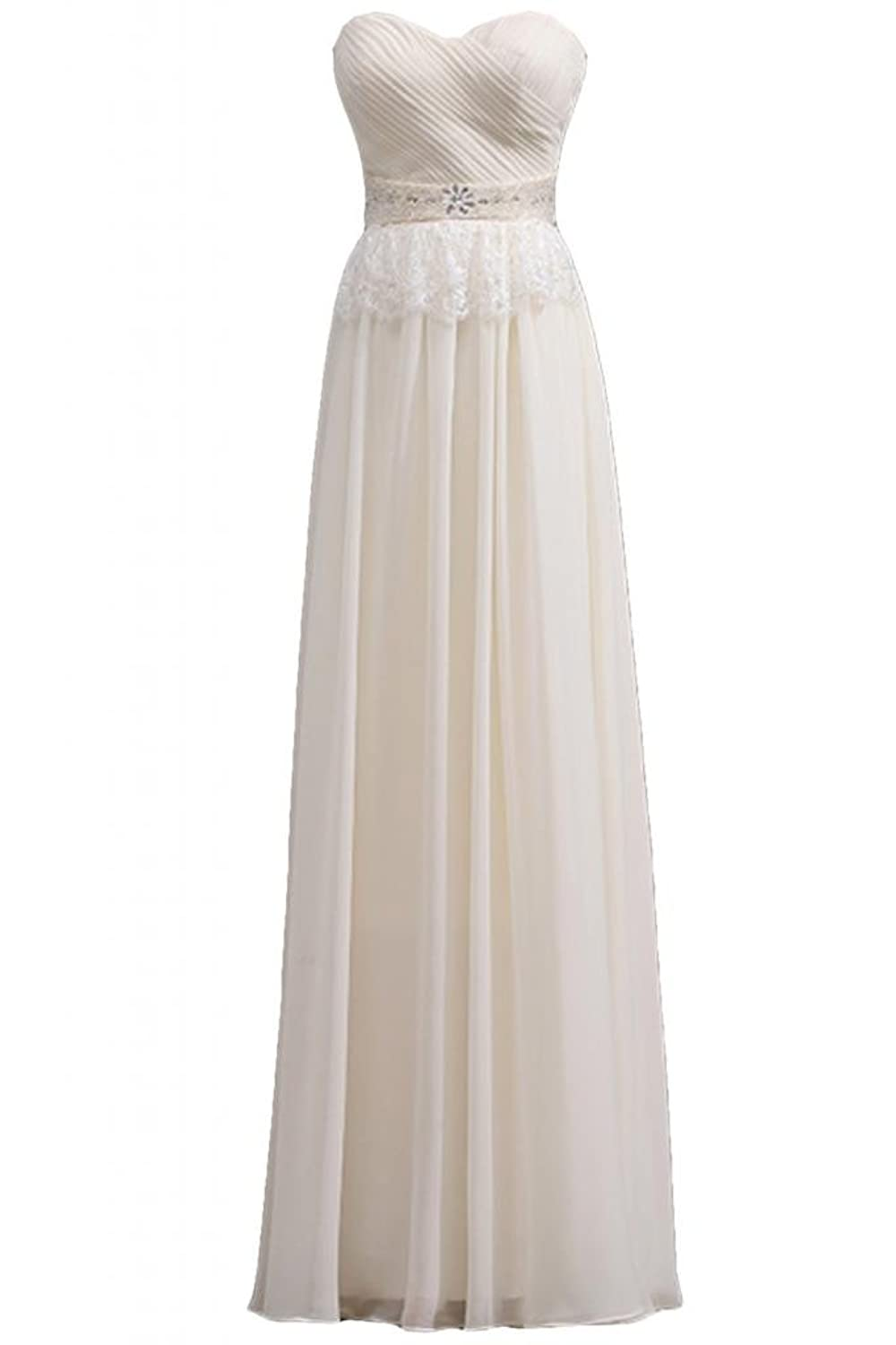 Sunvary Royal Chiffon Long A-line Strapless Sweetheart Evening Prom Dresses