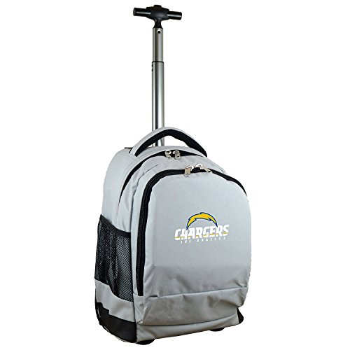 Denco NFL Los Angeles Chargers Expedition Wheeled Backpack, 19-inches, Gray by Denco