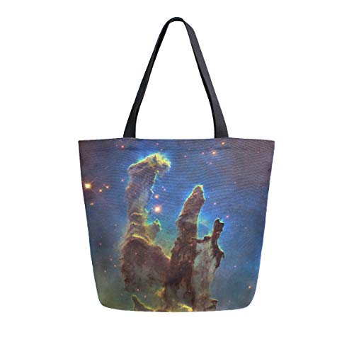 Womens Canvas Tote Bag The Creation Pillar Of Constellation Serpens In Eagle Nebula (M16) Large Shopping Bag Shoulder -