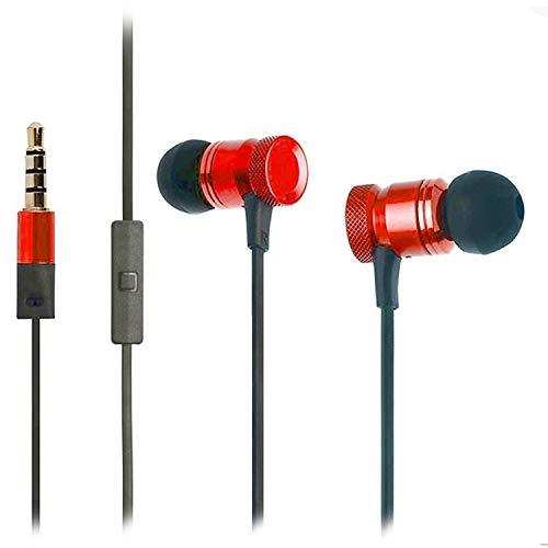 OKCS Premium In-Ear Kopfhörer Headset Lärmunterdrückung kraftvoller Bass kompatibel mit iPhone, Xperia, Galaxy, UVM. - Rot