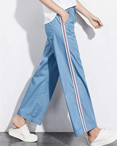 Bleu La À Élastique Pantalons Pour Haidean Clair Rayures De Larges Jambes Taille Jeune Jeans Avec Droites Chic Serrage Devant Dames Cordon Poches Longues Ample edxoCB