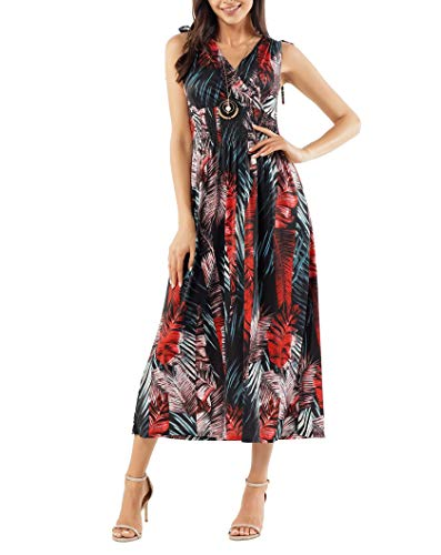 (FRESCA Womens Summer V Neck Floral Printed Swing Beach Dress Sleeveless Party Dress Black Red Large)