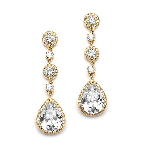 Mariell's Gorgeous 14K Gold Plated Clip-On CZ Wedding Earrings - Round-Cut Halos and Gleaming Teardrops