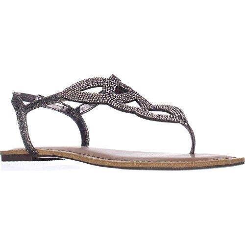 Material Girl Womens Swirlz Split Toe Casual Slingback Sandals, Pewter, Size 8.0