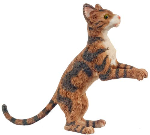 Melody Jane Dollhouse Brown Cat Rising Up After Something 1 :12 Scale Miniature Pet