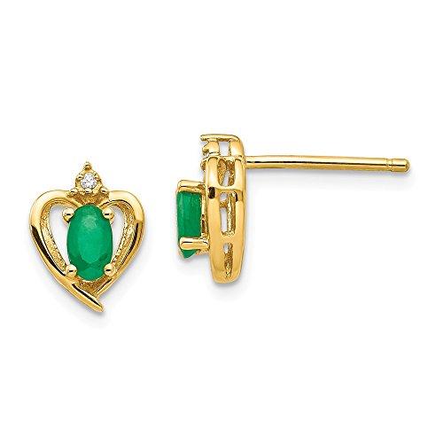 Mia Diamonds 10k Yellow Gold (.01cttw) Diamond and Emerald Earrings (10mm x 8mm)