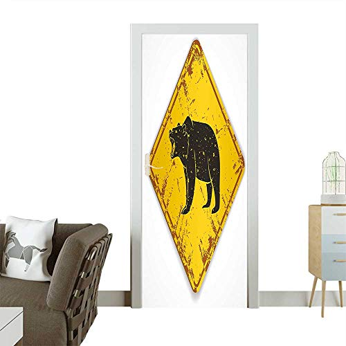 - Homesonne Modern Art Door Sticker Old Grungy Plate with Roaring Bear Wild Animal Warning Sign Print Yellow Brown Environmentally Friendly decorationW23 x H70 INCH