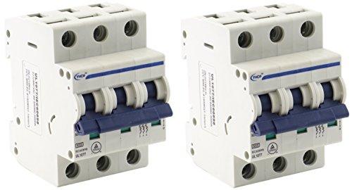 (2) Yuco YC-20-3B Miniature Din Rail Circuit Breaker B Curve 277/480V 50/60Hz 3 Pole 20 Amp