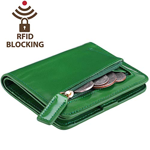 Itslife Women's Rfid Blocking Small Compact Bifold Leather Pocket Wallet Ladies Mini Purse with id Window (Waxed Green) (Travel Green Wallet)