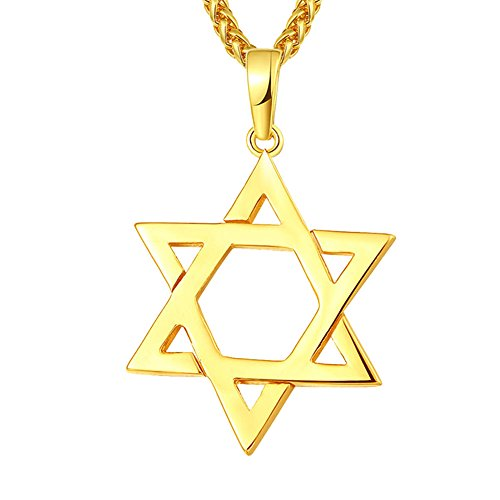 TTVOVO Jewish Jewelry Magen Star of David Pendant Necklace Women Men Chain Black Gun Plated/18K Gold Plated/Stainless Steel Israel Necklace