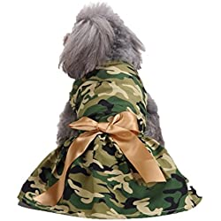 kaifongfu Pet Camouflage Skirt Clearance Army Green Camouflage Pet Dog Dress Clothes (M, Camouflage)