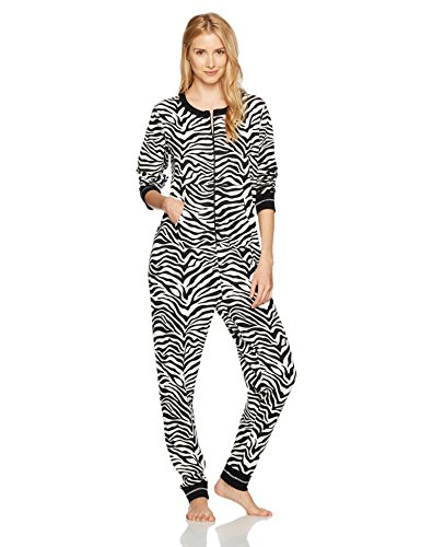 (Mae Women's Sleepwear Vintage Thermal Loose Fit Onesie, Zebra Print, S)