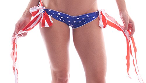 BodyZone Women's Patriotic Ribbon Tie Shorts, Stars/Stripes Print, One Size (Ribbon Tie Shorts)