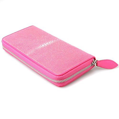 Genuine Polished Stingray Leather Pink Clutch Women Zip Around Coin Wallet Purse by Kanthima