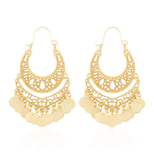 RIAH FASHION Bohemian Chandelier Coin Dangle Earrings - Gypsy Lightweight Filigree Disc Charm Tassel Ethnic Hoops (Original - Matte Gold)