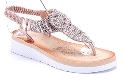 Schuhtempel24 Damen Schuhe Zehentrenner Sandalen Sandaletten Keilabsatz Ziersteine 4 cm Bronze