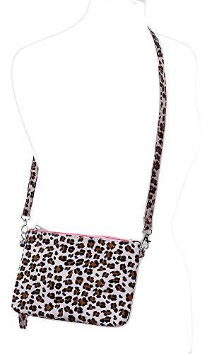 (Faux Leopard Skin Animal Clutch Makeup Pouch Crossbody Shoulder Bag Women Pink)