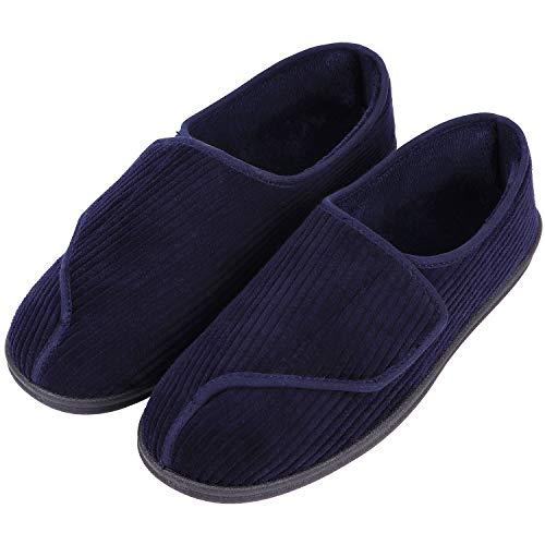 LongBay Men's Memory Foam Diabetic Slippers Comfy Warm Plush Fleece Arthritis Edema Swollen House Shoes (11 D(M) US, Navy Blue)