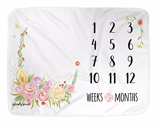 LovelySprouts Premium Fleece Monthly Milestone Blanket | Will Not Wrinkle Or Fade Like Muslin Blankets | Large 60 x 40 Size | The Original | Perfect for Baby Boy Or Girl Photo Props, Floral