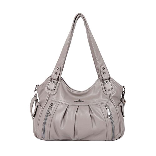 Angelkiss 2 Top Zippers Large Capacity Handbags Washed Leather Purses Shoulder Bags 0062 (Grey) (Two Large Zipper)