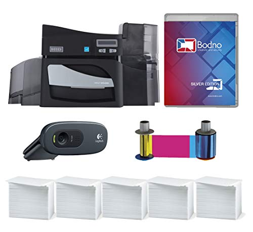 Fargo DTC4500e Single Sided ID Card Printer & Complete Supplies Package with Silver Edition Bodno ID Software (The Company Also Builds Tools For Database Development)