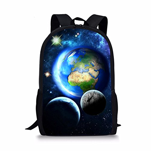 Coloranimal Blue Planets Earth Printing Children School Backpacks Kids Bookbags