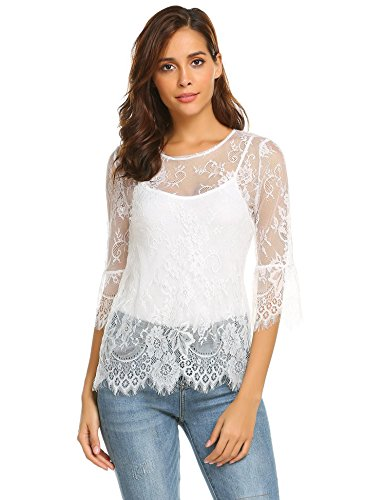 - Grabsa Women's See Through Shirt Scallop Trim Bell Sleeve Sheer Floral Lace Blouse White XXL