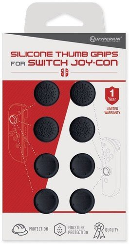 Hyperkin Silicone Thumb Grips for Nintendo Switch Joy-Con (Neo Black) (8-Pack)