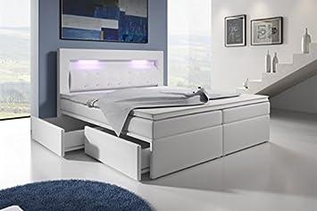 Boxspringbett 140x200 grau  Wohnen-Luxus Boxspringbett mit Bettkasten 140x200 Grau LED Kopflicht ...