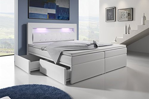 boxspringbett mit bettkasten 180x200 grau led kopflicht. Black Bedroom Furniture Sets. Home Design Ideas