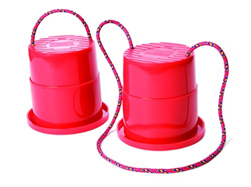 Just Jump It Set of 2 EZ Steppers - Active Indoor and Outdoor Activities for Kids - Can Stepper Toys - Red