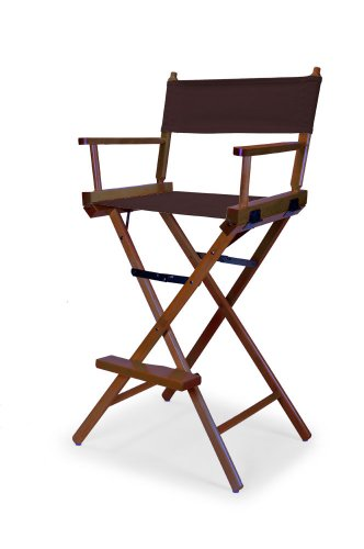 telescope casual heritage bar height director chair brown with walnut frame - Telescope Casual Furniture