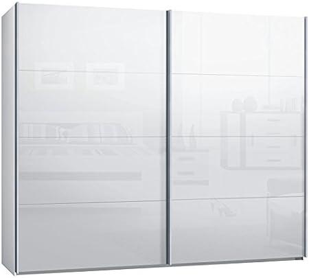Armario de puertas correderas, armario, aprox. 270 cm, blanco con cristal blanco, compra a partir de fábrica, armario corredero, frontal de cristal.: Amazon.es: Hogar
