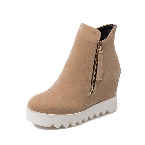 Apricot High Zipper imitiert Heels Wildleder Low Top Stiefel AgooLar Solide Frauen PwAaxvqF