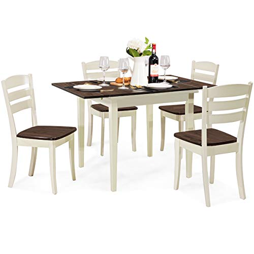 Giantex 5-Piece Dining Table Set with Folding Tabletop, Wood Kitchen Table and 4 Chairs Set, Modern Extendable Dining…