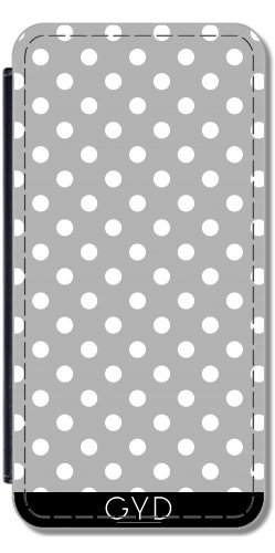 Leder Flip Case Tasche Hülle für Apple iPhone 6/6S - Chic Grau Gepunktet by Petra