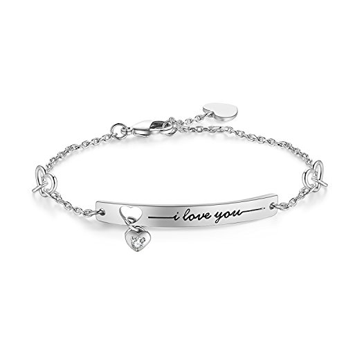 "Gold White Bracelet Engraved (NINAMAID ""I Love You"" Engraved Sparkling Cubic Zirconia Gold Plated Bracelet 8 Inches (White Gold))"