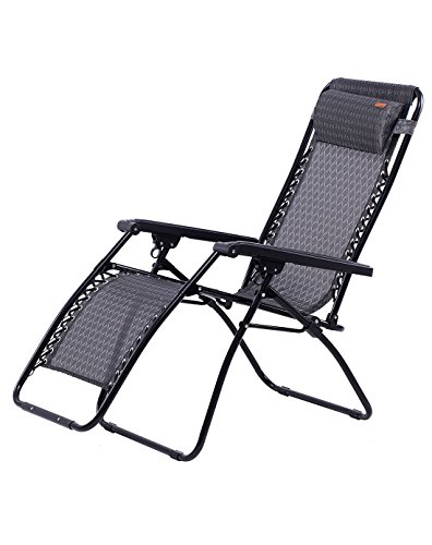 KingCamp Zero Gravity Lounge Patio Folding Reclining Chair Oversized Adjustable with Pillow for Garden, Outdoor (Outdoor Oversized Chair)