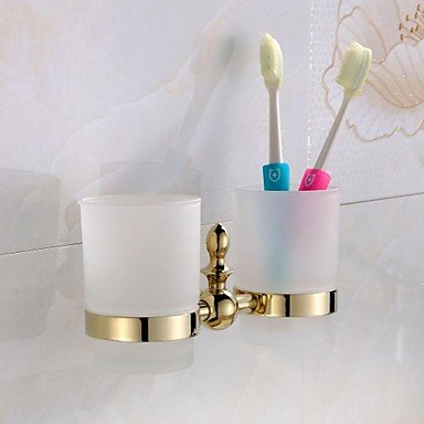 TBHCJ Porta cepillo de dientes,Portacepillos de latón Material acabado en oro