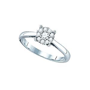 18kt White Gold Womens Round Diamond Cluster Bridal Wedding Engagement Ring 1.00 Cttw
