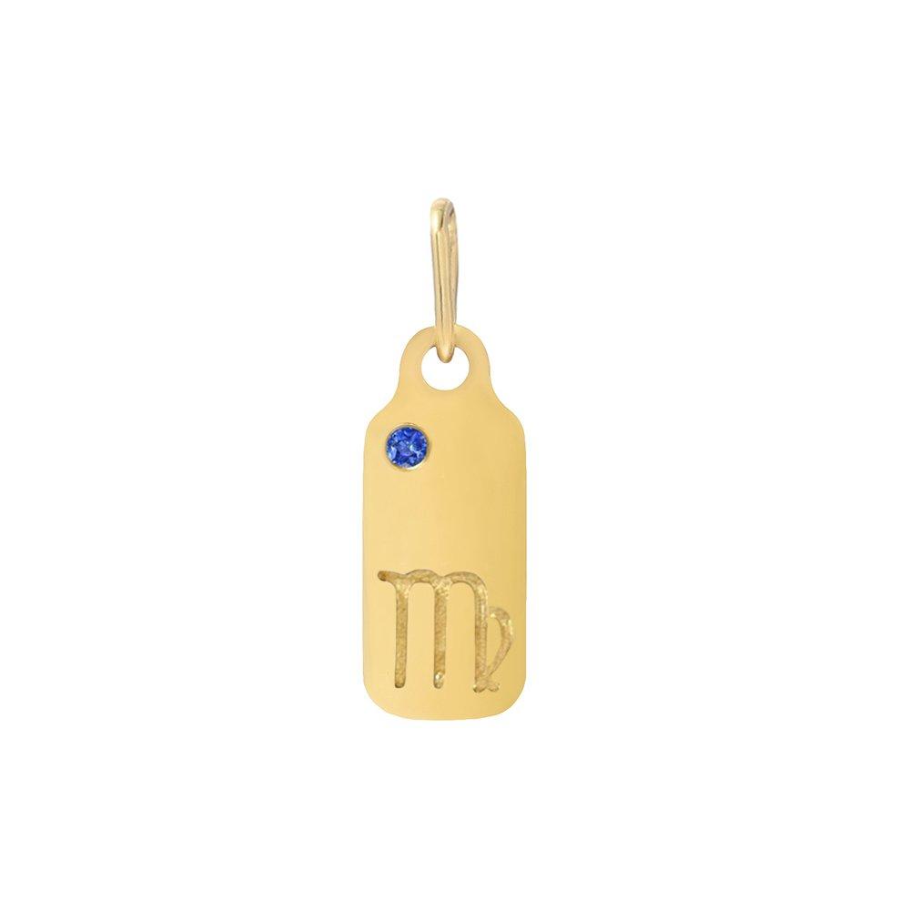 Mini Mini Jewels 14k Gold Dazzling Blue Sapphire Birthstone Zodiac Libra Dog-tag Pendant Nacklace