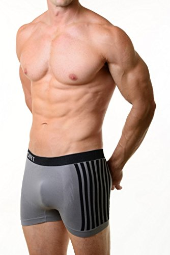 Fashion Mic Men's Basic Casual Seamless Boxer Briefs-Sport Stripes Print (One Size Regular, grey) (Stripe Print Briefs)