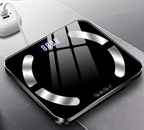 GUANG 体重計 体脂肪 体重体組成計 USB充電 体重計 スマホ連動 ブラックピンクホワイト3色の頑丈なガラス保護 体脂肪計 体重/体脂肪率/皮下脂肪/内臓脂肪/筋肉量/骨量/体水分率/基礎代謝量/BMIなど測定可能 Bluetooth 体組成計 iOS/Androidアプリで健康管理 ヘルスケア同期 スマートスケール (Color : Black)